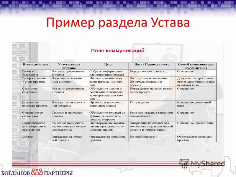 Пример раздела Устава
