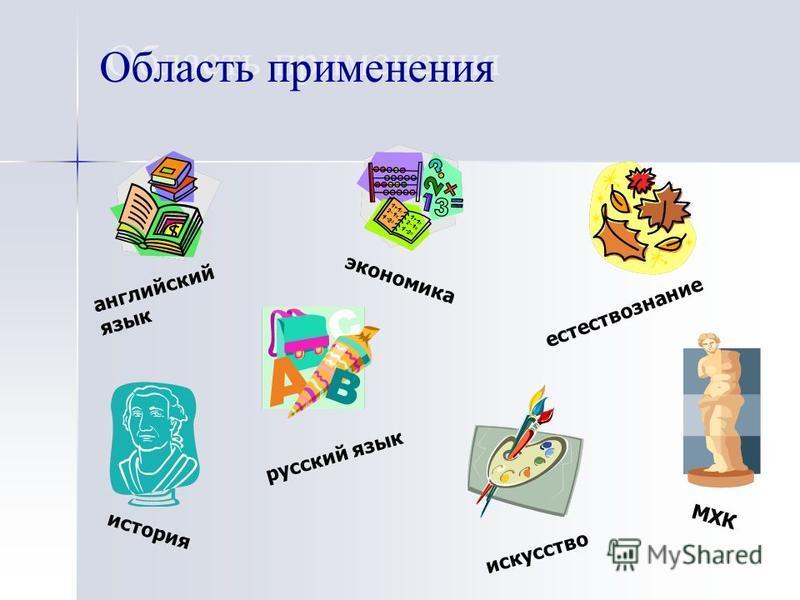 Область применения английский язык русский язык естествознание история искусство МХК экономика