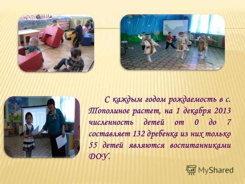 С каждым годом рождаемость в с. Тополиное растет, на 1 декабря 2013 численность детей от 0 до 7 составляет 132 дребенка из них только 55 детей являются воспитанниками ДОУ.