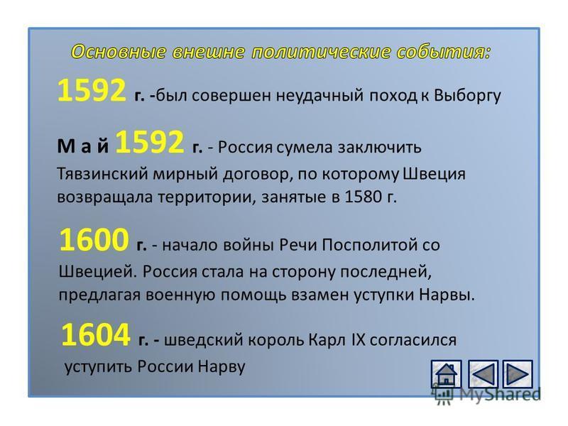 РОССИЯ В XVІ В. 1592 г. -был совершен неудачный поход к Выборгу М а й 1592 г. - Россия сумела заключить Тявзинский мирный договор, по которому Швеция возвращала территории, занятые в 1580 г. 1600 г. - начало войны Речи Посполитой со Швецией. Россия с