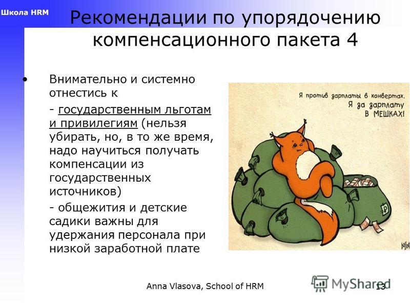 Anna Vlasova, School of HRM12 Рекомендации по упорядочению компенсационного пакета 3 Структурировать разные планы (например, по целям; по категориям; план А,В, С – для уровней менеджмента; план А,Б,В – продажи, сервис, производство; региональные план