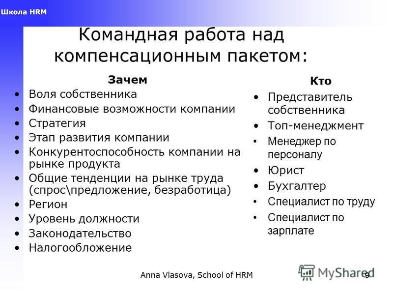 Anna Vlasova, School of HRM8 Исследования для создания компенсационного пакета Обзоры рынка зарплат, льгот и привилегий Исследование удовлетворенности персонала Идеальный профиль сотрудника (компетенции), «средний», «нужный», «такой» работник и иссле