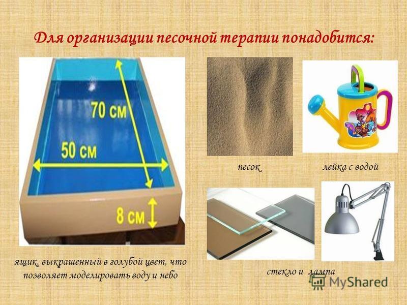 Для организации песочной терапии понадобится: ящик, выкрашенный в голубой цвет, что позволяет моделировать воду и небо песок лейка с водой стекло и лампа