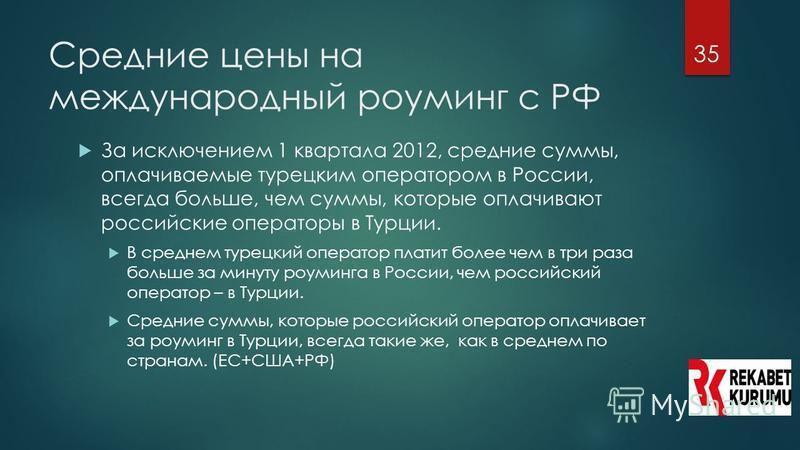 35 Средние цены на международный роуминг с РФ За исключением 1 квартала 2012, средние суммы, оплачиваемые турецким оператором в России, всегда больше, чем суммы, которые оплачивают российские операторы в Турции. В среднем турецкий оператор платит бол
