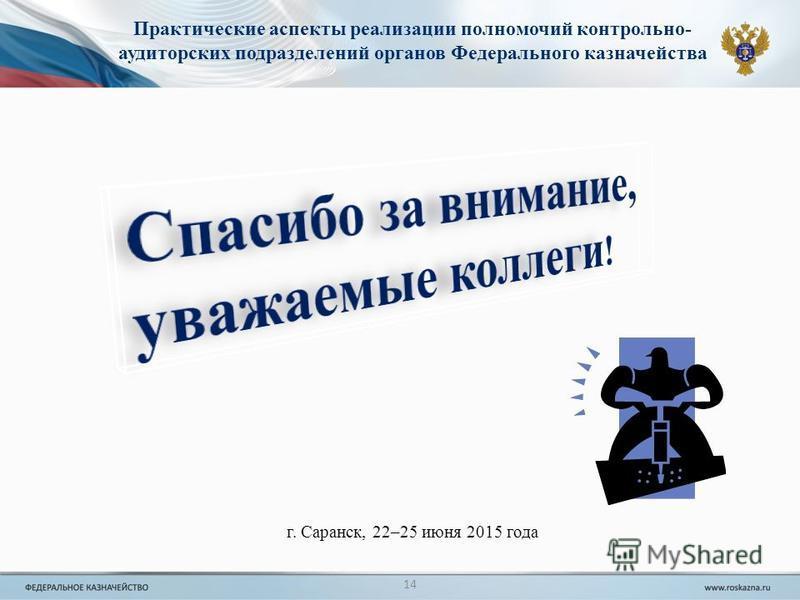 14 Практические аспекты реализации полномочий контрольно- аудиторских подразделений органов Федерального казначейства г. Саранск, 22–25 июня 2015 года