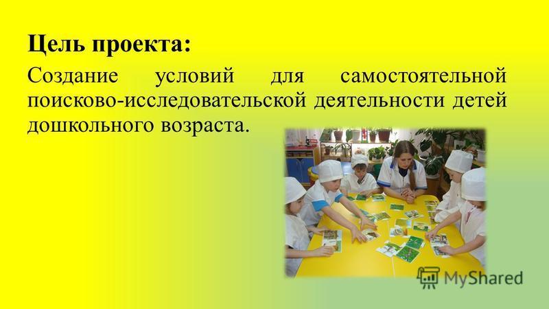 Цель проекта: Создание условий для самостоятельной поисково-исследовательской деятельности детей дошкольного возраста.