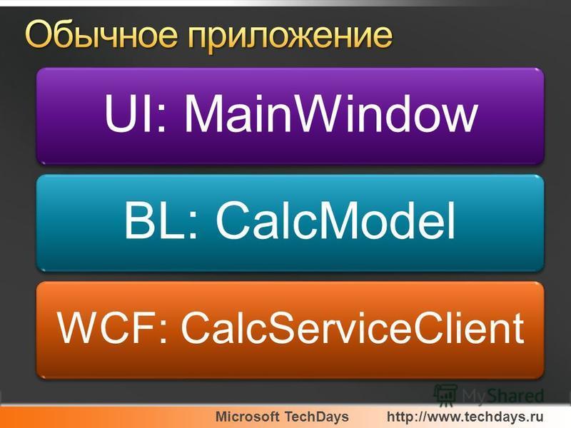 Microsoft TechDayshttp://www.techdays.ru UI: MainWindowBL: CalcModel WCF: CalcServiceClient