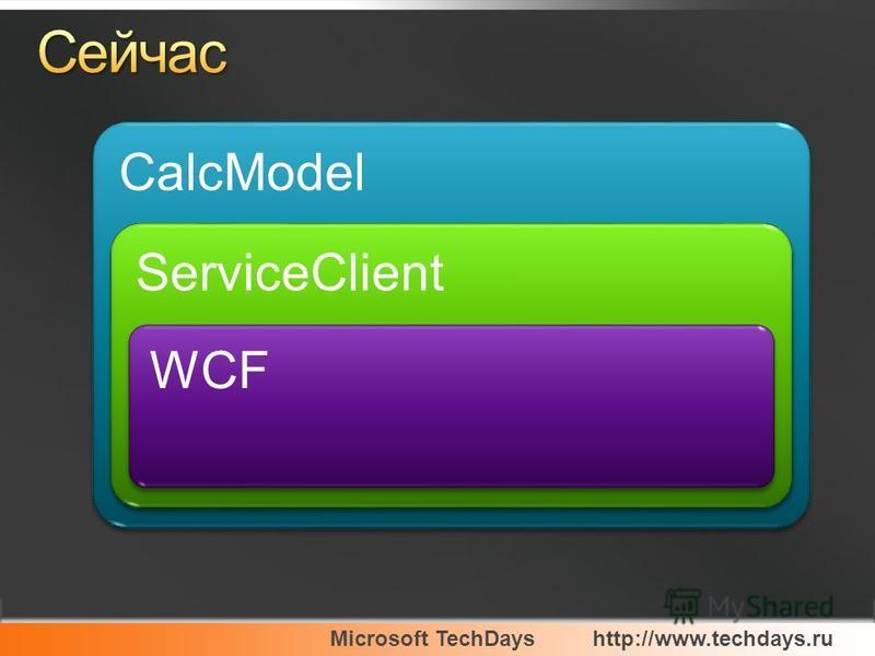 Microsoft TechDayshttp://www.techdays.ru CalcModel ServiceClient WCF