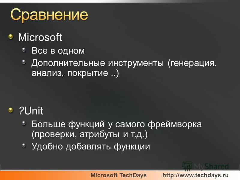 Microsoft TechDayshttp://www.techdays.ru Microsoft Все в одном Дополнительные инструменты (генерация, анализ, покрытие..) ?Unit Больше функций у самого фреймворка (проверки, атрибуты и т.д.) Удобно добавлять функции
