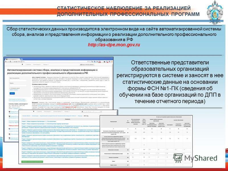 Сбор статистических данных производится в электронном виде на сайте автоматизированной системы сбора, анализа и представления информации о реализации дополнительного профессионального образования в РФ http://as-dpe.mon.gov.ru СТАТИСТИЧЕСКОЕ НАБЛЮДЕНИ