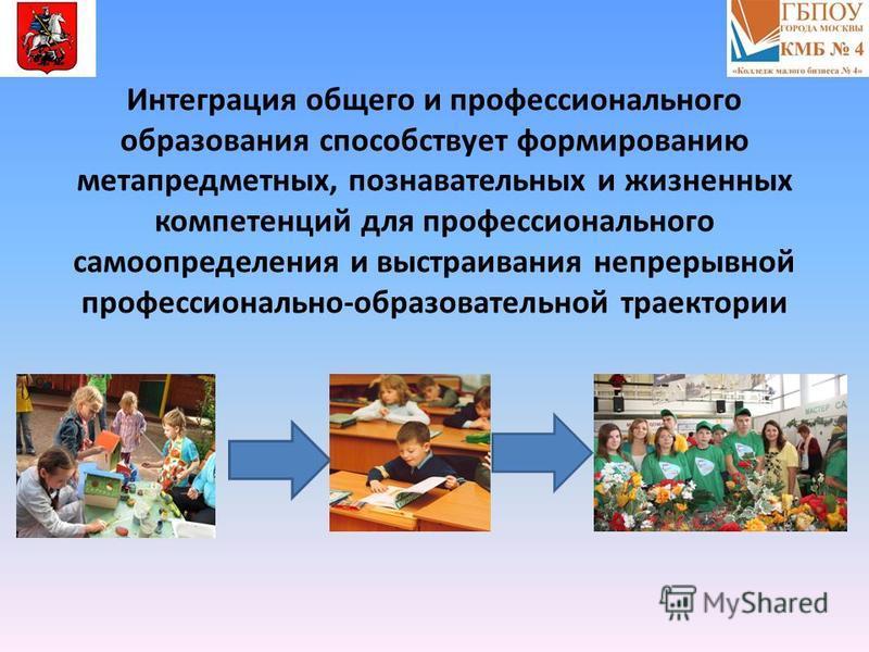 Интеграция общего и профессионального образования способствует формированию метапредметных, познавательных и жизненных компетенций для профессионального самоопределения и выстраивания непрерывной профессионально-образовательной траектории