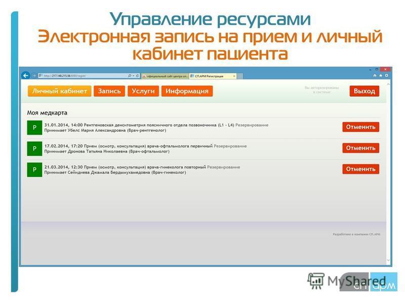 Управление ресурсами Электронная запись на прием и личный кабинет пациента