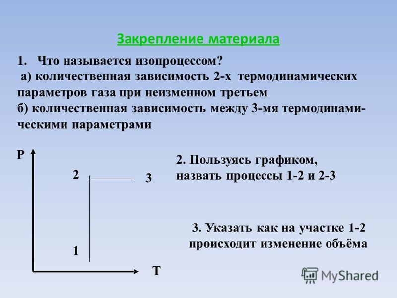 Закрепление материала 1. Что называется изопроцессом? а) количественная зависимость 2-х термодинамических параметров газа при неизменном третьем б) количественная зависимость между 3-мя термодинамическими параметрами P T 1 2 3 2. Пользуясь графиком,