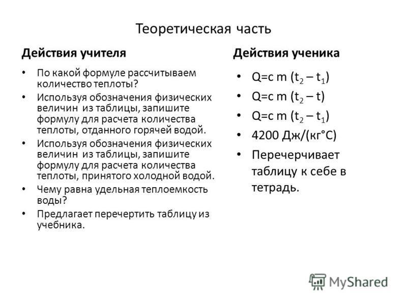 Теоретическая часть Действия учителя По какой формуле рассчитываем количество теплоты? Используя обозначения физических величин из таблицы, запишите формулу для расчета количества теплоты, отданного горячей водой. Используя обозначения физических вел