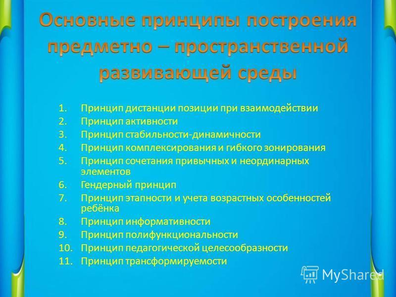 1. Принцип дистанции позиции при взаимодействии 2. Принцип активности 3. Принцип стабильности-динамичностьи 4. Принцип комплексирования и гибкого зонирования 5. Принцип сочетания привычных и неординарных элементов 6. Гендерный принцип 7. Принцип этап
