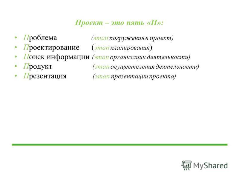 Проект – это пять «П»: Проблема (этап погружения в проект) Проектирование ( этап планирования ) Поиск информации (этап организации деятельности) Продукт (этап осуществления деятельности) Презентация (этап презентации проекта)