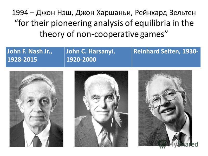 1994 – Джон Нэш, Джон Харшаньи, Рейнхард Зельтен for their pioneering analysis of equilibria in the theory of non-cooperative games John F. Nash Jr., 1928-2015 John C. Harsanyi, 1920-2000 Reinhard Selten, 1930-