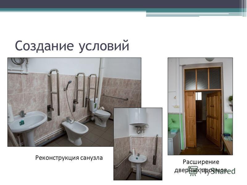 Создание условий Реконструкция санузла Расширение дверных проемов