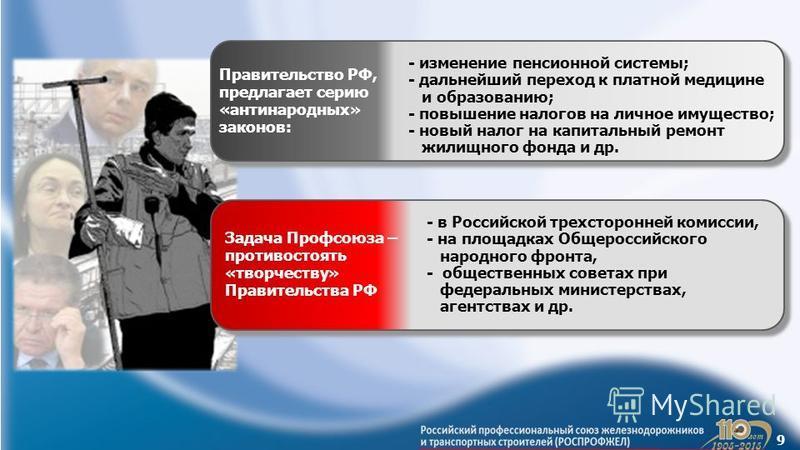 9 Правительство РФ, предлагает серию «антинародных» законов: - изменение пенсионной системы; - дальнейший переход к платной медицине и образованию; - повышение налогов на личное имущество; - новый налог на капитальный ремонт жилищного фонда и др. Зад