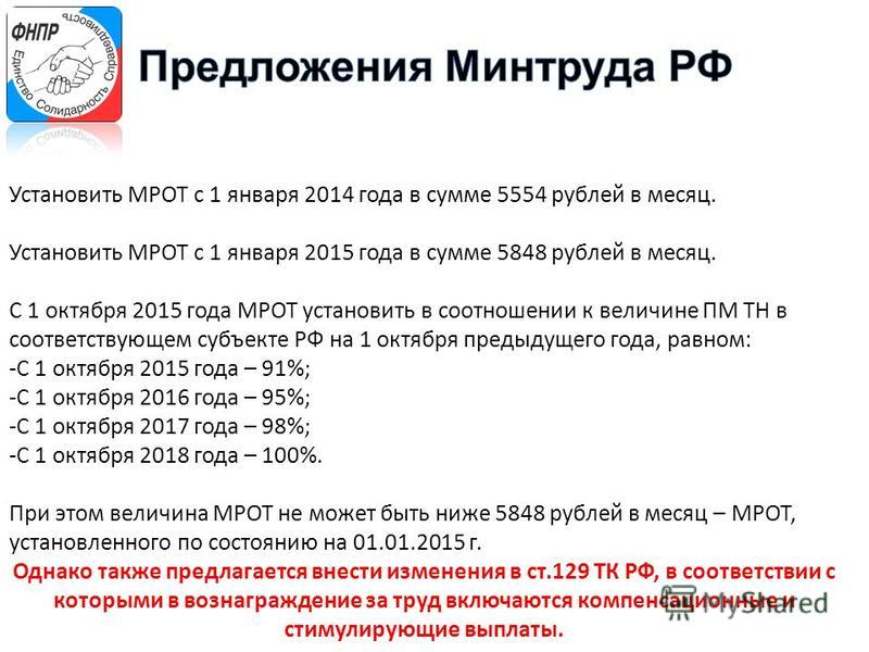 Установить МРОТ с 1 января 2014 года в сумме 5554 рублей в месяц. Установить МРОТ с 1 января 2015 года в сумме 5848 рублей в месяц. С 1 октября 2015 года МРОТ установить в соотношении к величине ПМ ТН в соответствующем субъекте РФ на 1 октября предыд