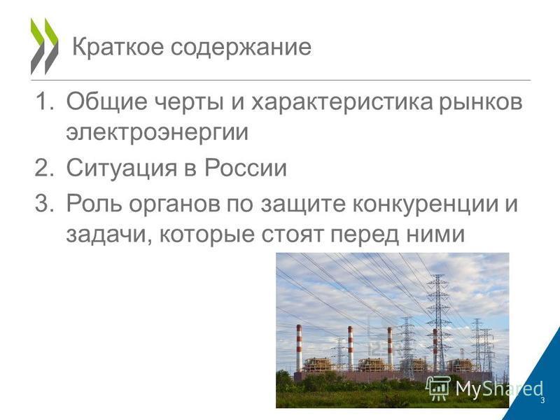 1. Общие черты и характеристика рынков электроэнергии 2. Ситуация в России 3. Роль органов по защите конкуренции и задачи, которые стоят перед ними Краткое содержание 3