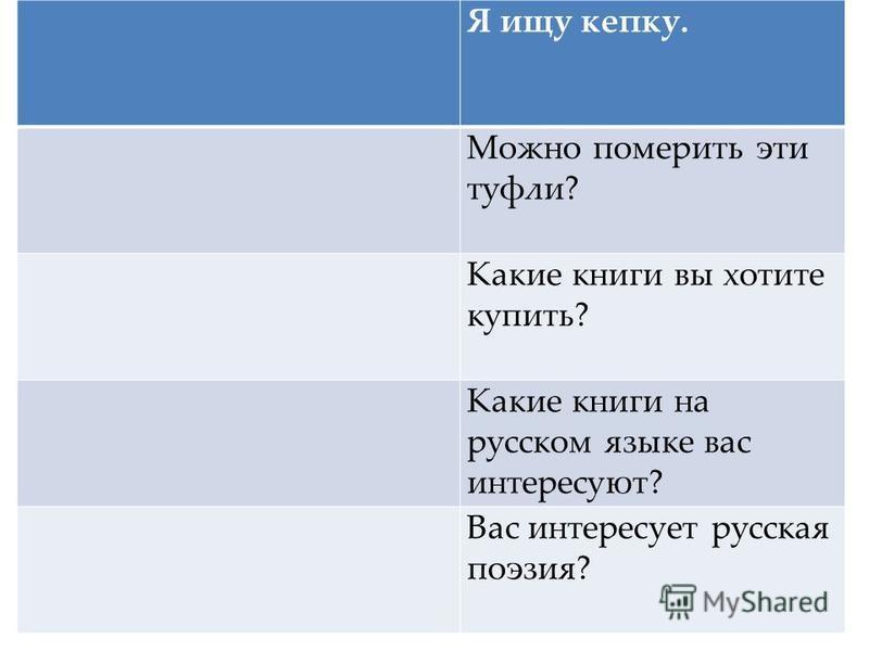 Я ищу кепку. Можно померить эти туфли? Какие книги вы хотите купить? Какие книги на русском языке вас интересуют? Вас интересует русская поэзия?
