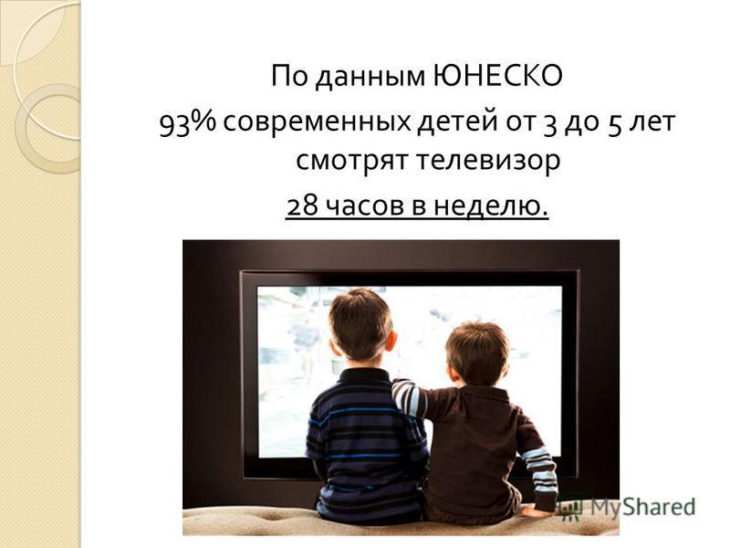 По данным ЮНЕСКО 93% современных детей от 3 до 5 лет смотрят телевизор 28 часов в неделю.