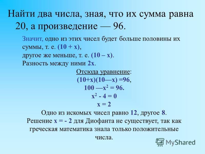 Найти два числа, зная, что их сумма равна 20, а произведение 96. Значит, одно из этих чисел будет больше половины их суммы, т. е. (10 + х), другое же меньше, т. е. (10 – х). Разность между ними 2 х. Отсюда уравнение: (10+x)(10x) =96, 100 x 2 = 96. x
