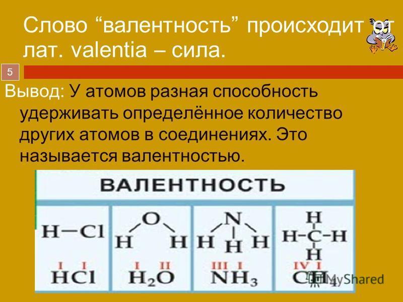 5 Вывод: У атомов разная способность удерживать определённое количество других атомов в соединениях. Это называется валентностью. Слово валентность происходит от лат. valentia – сила.