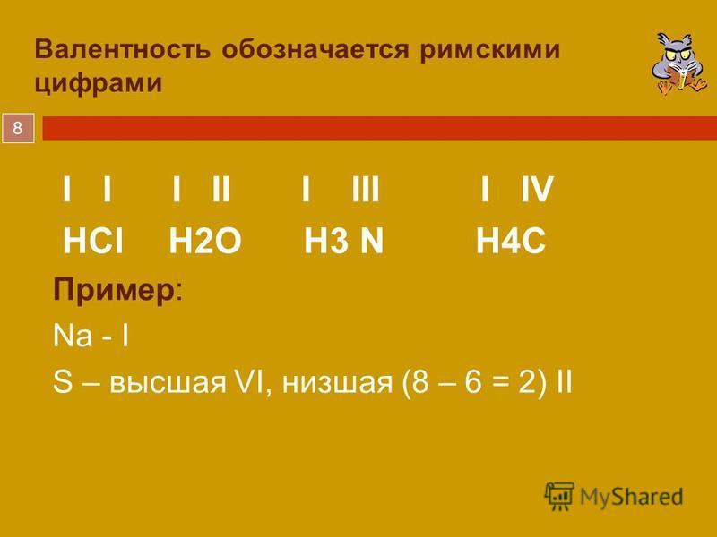 8 Валентность обозначается римскими цифрами I I I II I III I IV HCl H2O H3 N H4C Пример: Na - I S – высшая VI, низшая (8 – 6 = 2) II