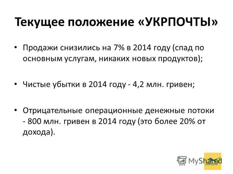 Текущее положение «УКРПОЧТЫ» Продажи снизились на 7% в 2014 году (спад по основным услугам, никаких новых продуктов); Чистые убытки в 2014 году - 4,2 млн. гривен; Отрицательные операционные денежные потоки - 800 млн. гривен в 2014 году (это более 20%