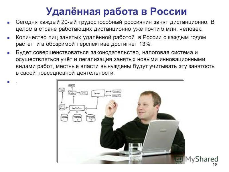 Удалённая работа в России Сегодня каждый 20-ый трудоспособный россиянин занят дистанционно. В целом в стране работающих дистанционно уже почти 5 млн. человек. Количество лиц занятых удалённой работой в России с каждым годом растет и в обозримой персп