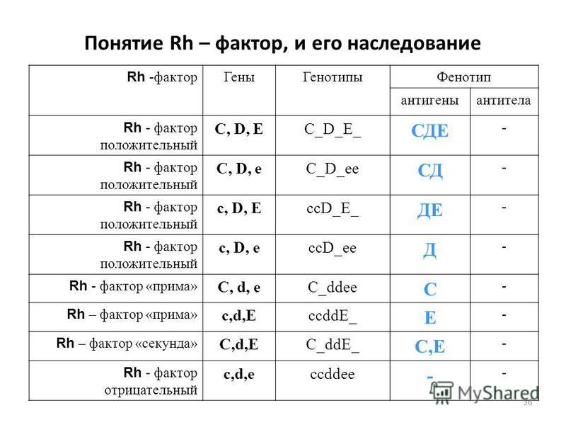 36 Понятие Rh – фактор, и его наследование Rh -фактор Гены ГенотипыФенотип антигены антитела Rh - фактор положительный С, D, ЕС_D_Е_ СДЕ - Rh - фактор положительный С, D, еС_D_ее СД - Rh - фактор положительный с, D, ЕссD_Е_ ДЕ - Rh - фактор положител