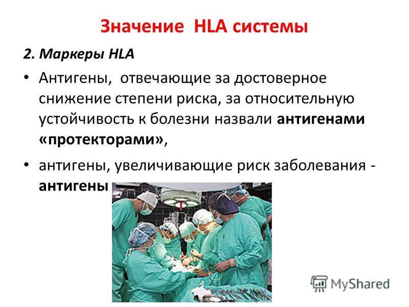 Значение HLA системы 2. Маркеры HLA Антигены, отвечающие за достоверное снижение степени риска, за относительную устойчивость к болезни назвали антигенами «протекторами», антигены, увеличивающие риск заболевания - антигены – провокаторы.