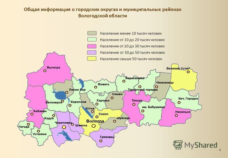 Общая информация о городских округах и муниципальных районах Вологодской области Население менее 10 тысяч человек Население от 10 до 20 тысяч человек Население от 20 до 30 тысяч человек Население от 30 до 50 тысяч человек Население свыше 50 тысяч чел