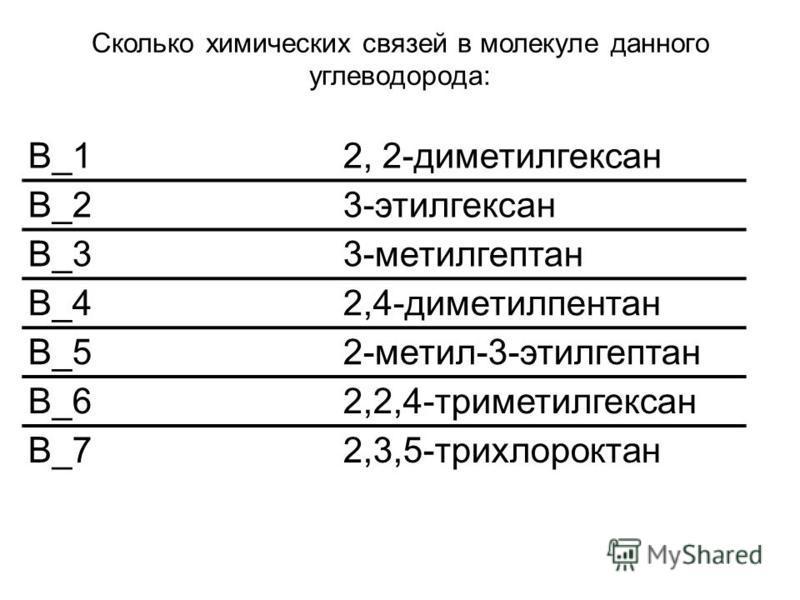 Сколько химических связей в молекуле данного углеводорода: В_12, 2-диметилгексан В_23-этилгексан В_33-метилгептан В_42,4-диметилпентан В_52-метил-3-этилгептан В_62,2,4-триметилгексан В_72,3,5-трихлороктан