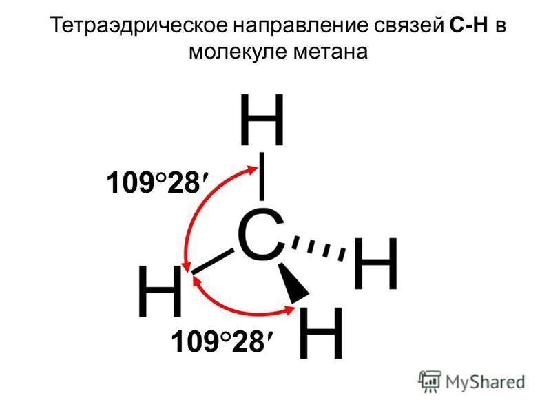 Тетраэдрическое направление связей С-Н в молекуле метана 109 ° 28
