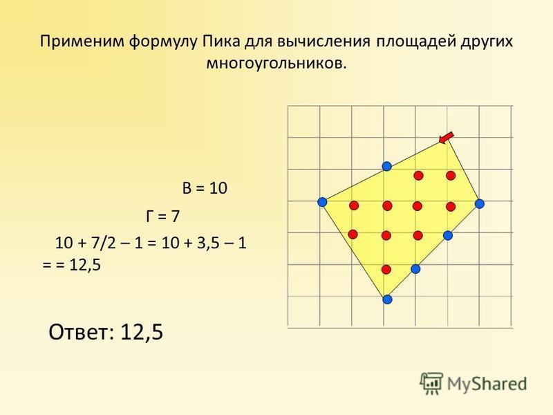 В = 10 Г = 7 10 + 7/2 – 1 = 10 + 3,5 – 1 = = 12,5 Ответ: 12,5 Применим формулу Пика для вычисления площадей других многоугольников.