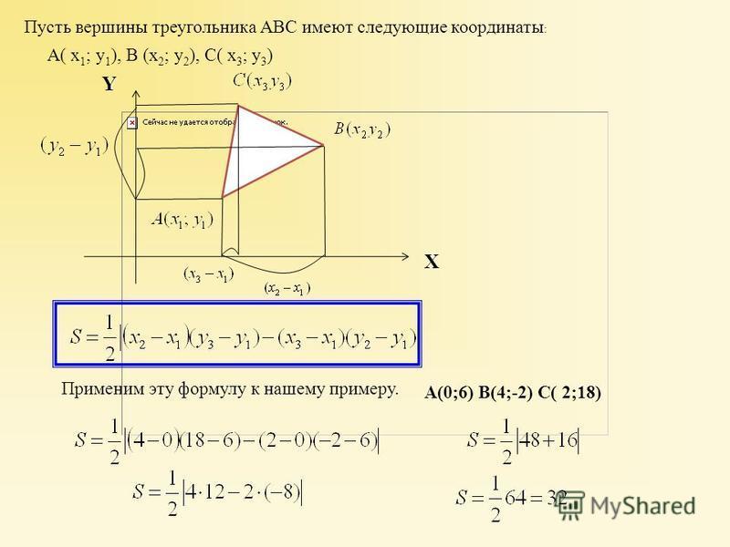 Применим эту формулу к нашему примеру. Пусть вершины треугольника АВС имеют следующие координаты : А( х 1 ; у 1 ), В (х 2 ; у 2 ), С( х 3 ; у 3 ) XY А(0;6) B(4;-2) C( 2;18)