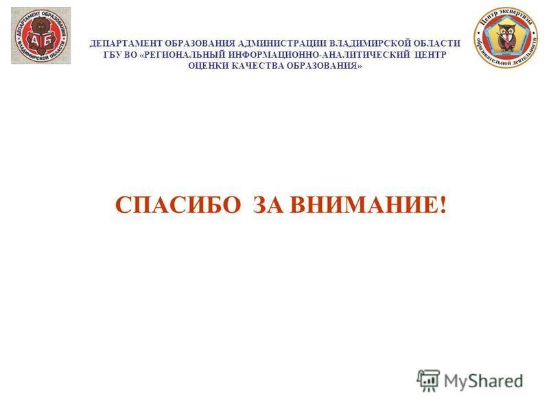 ДЕПАРТАМЕНТ ОБРАЗОВАНИЯ АДМИНИСТРАЦИИ ВЛАДИМИРСКОЙ ОБЛАСТИ ГБУ ВО «РЕГИОНАЛЬНЫЙ ИНФОРМАЦИОННО-АНАЛИТИЧЕСКИЙ ЦЕНТР ОЦЕНКИ КАЧЕСТВА ОБРАЗОВАНИЯ» СПАСИБО ЗА ВНИМАНИЕ!