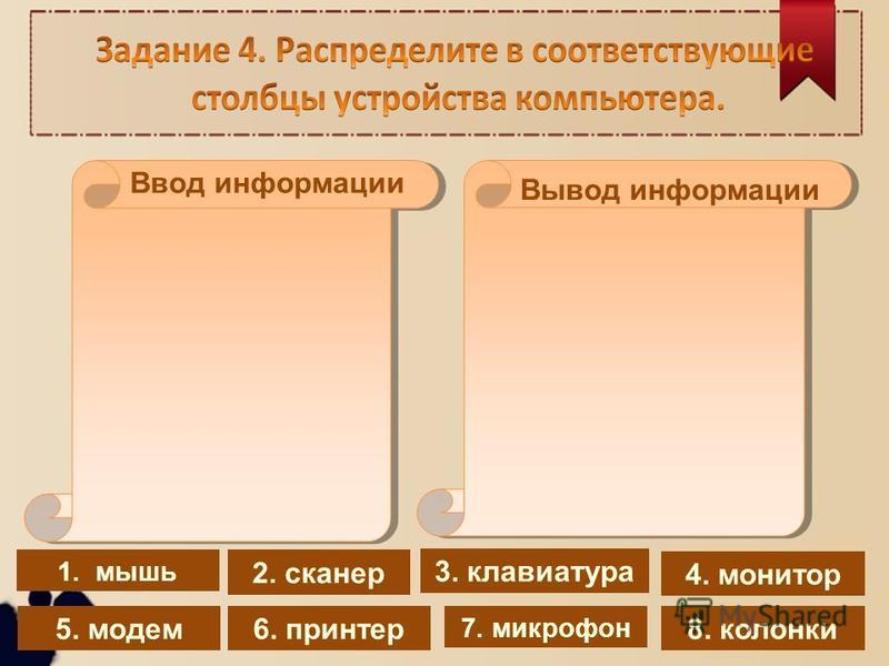 1. мышь 4. монитор 2. сканер 8. колонки 7. микрофон 5. модем 6. принтер 3. клавиатура Вывод информации Ввод информации