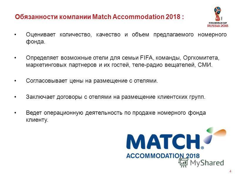 4 Обязанности компании Match Accommodation 2018 : Оценивает количество, качество и объем предлагаемого номерного фонда. Определяет возможные отели для семьи FIFA, команды, Оргкомитета, маркетинговых партнеров и их гостей, теле-радио вещателей, СМИ. С