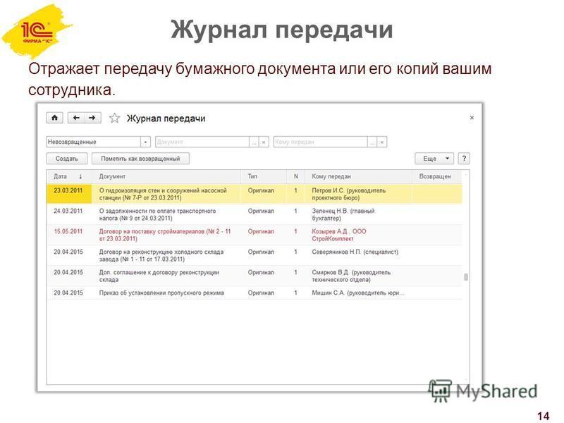 Журнал передачи 14 Отражает передачу бумажного документа или его копий вашим сотрудника.