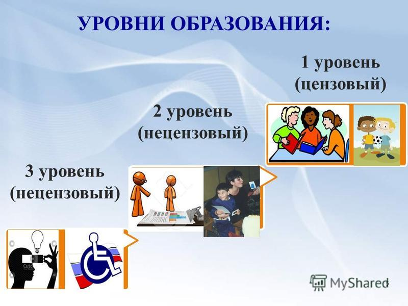 УРОВНИ ОБРАЗОВАНИЯ: 1 уровень (цензовый) 2 уровень (нецензовый) 5 3 уровень (нецензовый)