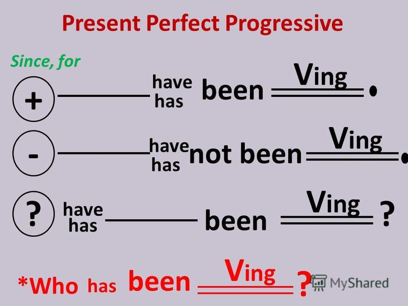 Present Perfect Progressive Since, for + V ing - not ? ? *Who V ing ? have has have V ing has been