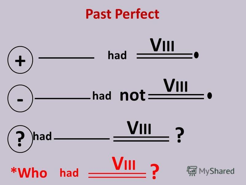 Past Perfect + V III - not ? ? *Who V III ? had V III had