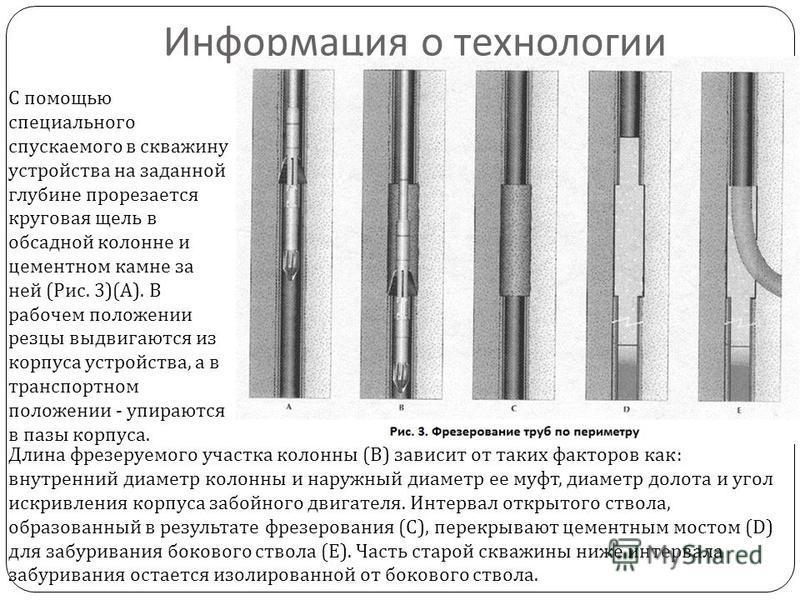 Информация о технологии Длина фрезеруемого участка колонны ( В ) зависит от таких факторов как : внутренний диаметр колонны и наружный диаметр ее муфт, диаметр долота и угол искривления корпуса забойного двигателя. Интервал открытого ствола, образова