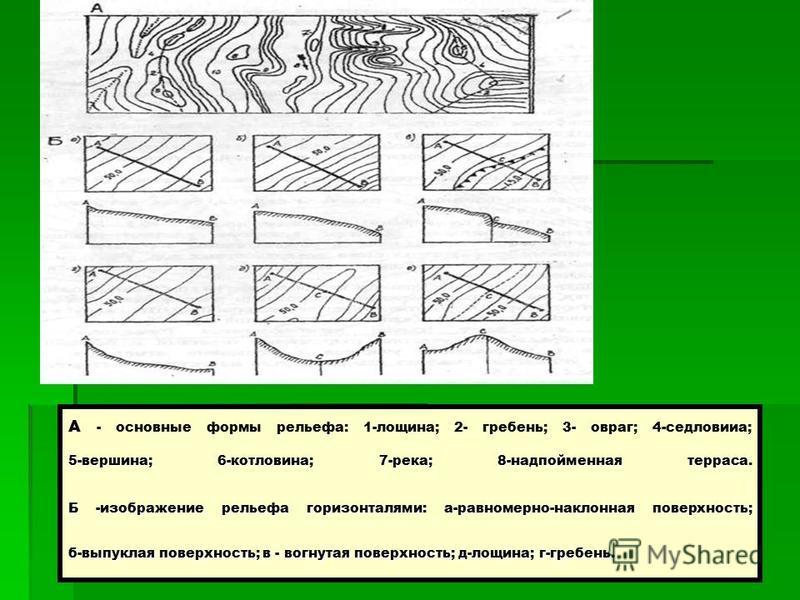 5-вершина; 6-котловина; 7-река; 8-надпойменная терраса. Б -изображение рельефа горизонталями: а-равномерно-наклонная поверхность; б-выпуклая поверхность; в - вогнутая поверхность; д-лощина; г-гребень. А - основные формы рельефа: 1-лощина; 2- гребень;