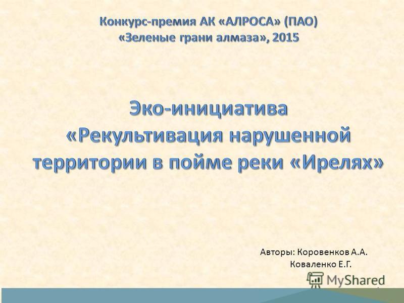 1 Авторы: Коровенков А.А. Коваленко Е.Г.