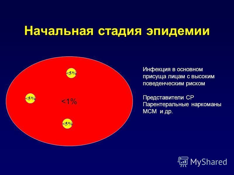 Начальная стадия эпидемии <1% Инфекция в основном присуща лицам с высоким поведенческим риском Представители CР Парентеральные наркоманы МСМ и др. <5%